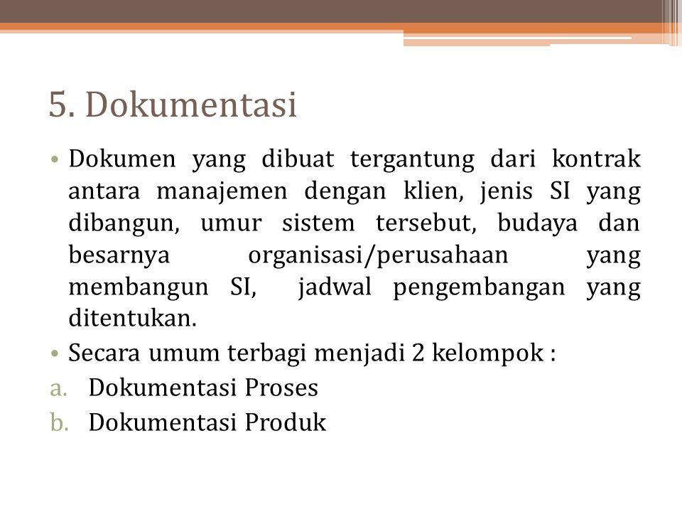 5. Dokumentasi Dokumen yang dibuat tergantung dari kontrak antara manajemen dengan klien, jenis SI yang dibangun, umur sistem tersebut, budaya dan bes