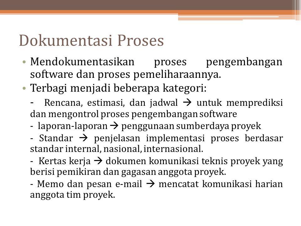 Dokumentasi Proses Mendokumentasikan proses pengembangan software dan proses pemeliharaannya. Terbagi menjadi beberapa kategori: - Rencana, estimasi,