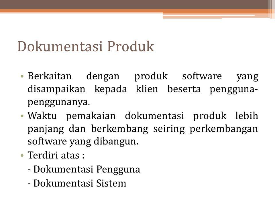 Dokumentasi Produk Berkaitan dengan produk software yang disampaikan kepada klien beserta pengguna- penggunanya. Waktu pemakaian dokumentasi produk le