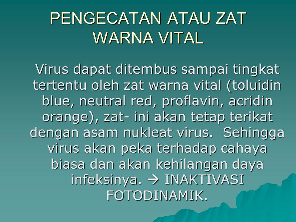 PENGECATAN ATAU ZAT WARNA VITAL Virus dapat ditembus sampai tingkat tertentu oleh zat warna vital (toluidin blue, neutral red, proflavin, acridin orange), zat- ini akan tetap terikat dengan asam nukleat virus.