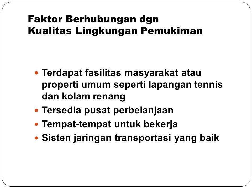 Faktor Berhubungan dgn Kualitas Lingkungan Pemukiman Terdapat fasilitas masyarakat atau properti umum seperti lapangan tennis dan kolam renang Tersedi