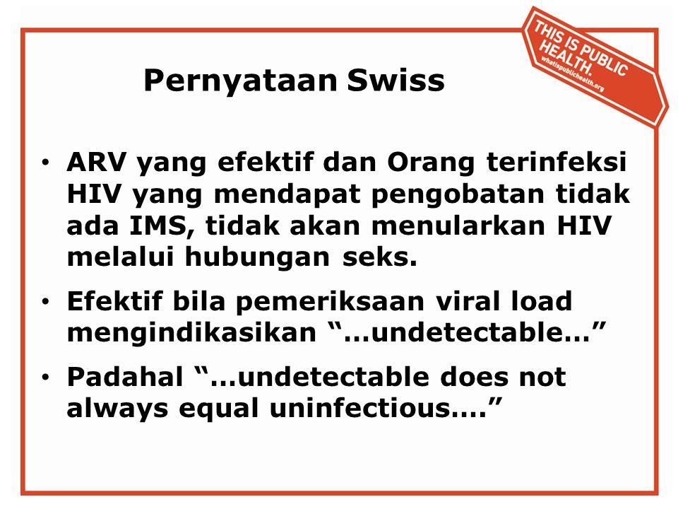 Pernyataan Swiss ARV yang efektif dan Orang terinfeksi HIV yang mendapat pengobatan tidak ada IMS, tidak akan menularkan HIV melalui hubungan seks.