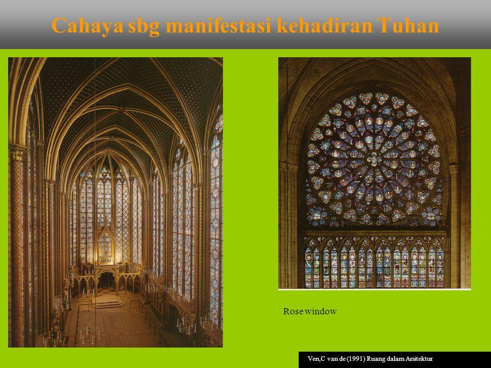 Cahaya sbg manifestasi kehadiran Tuhan Ven,C van de (1991) Ruang dalam Arsitektur Rose window