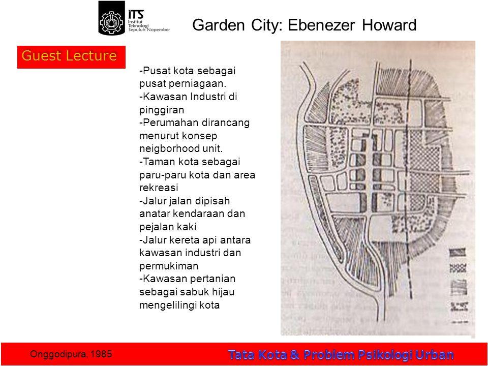Guest Lecture Onggodipura, 1985 Garden City: Ebenezer Howard -Pusat kota sebagai pusat perniagaan.