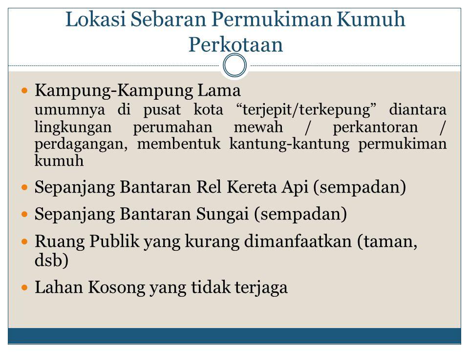 "Lokasi Sebaran Permukiman Kumuh Perkotaan Kampung-Kampung Lama umumnya di pusat kota ""terjepit/terkepung"" diantara lingkungan perumahan mewah / perkan"