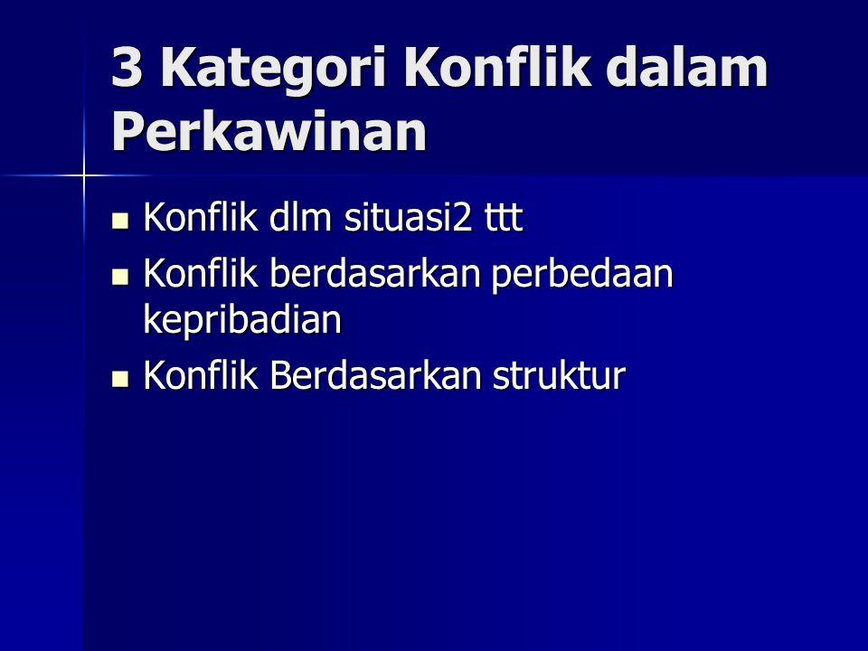 3 Kategori Konflik dalam Perkawinan Konflik dlm situasi2 ttt Konflik dlm situasi2 ttt Konflik berdasarkan perbedaan kepribadian Konflik berdasarkan pe