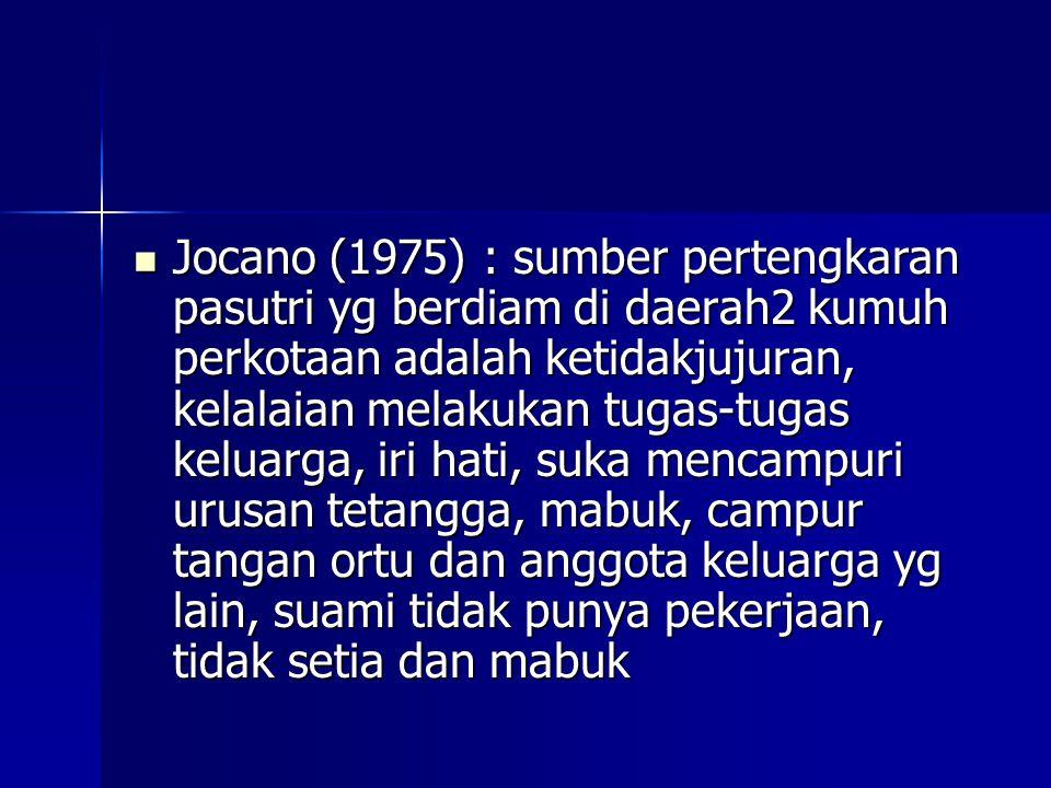 Jocano (1975) : sumber pertengkaran pasutri yg berdiam di daerah2 kumuh perkotaan adalah ketidakjujuran, kelalaian melakukan tugas-tugas keluarga, iri