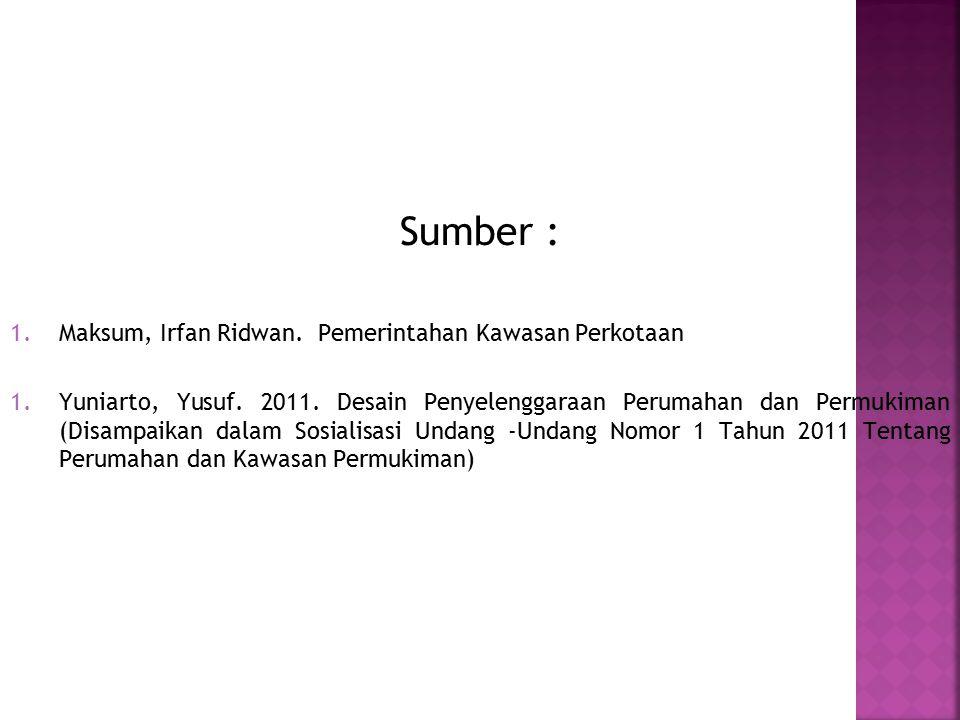 Sumber : 1.Maksum, Irfan Ridwan. Pemerintahan Kawasan Perkotaan 1.Yuniarto, Yusuf.