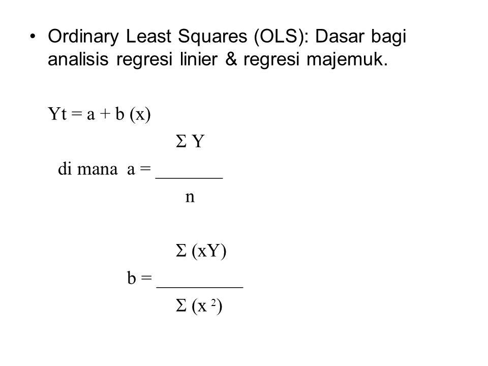 Ordinary Least Squares (OLS): Dasar bagi analisis regresi linier & regresi majemuk. Yt = a + b (x)  Y di mana a = _______ n  (xY) b = _________  (x