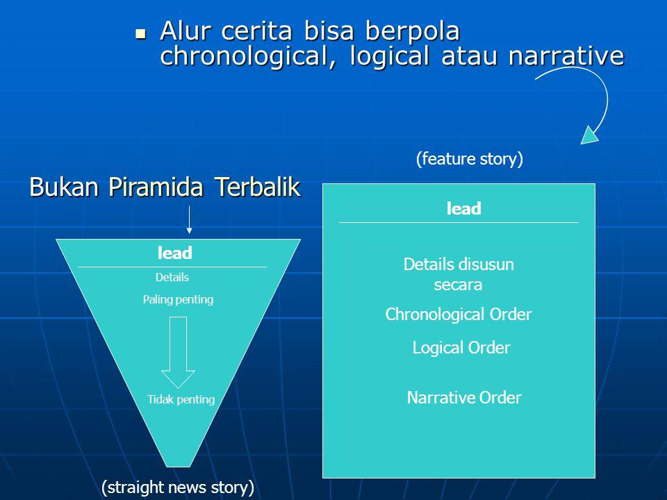Alur cerita bisa berpola chronological, logical atau narrative Alur cerita bisa berpola chronological, logical atau narrative lead Details (straight n