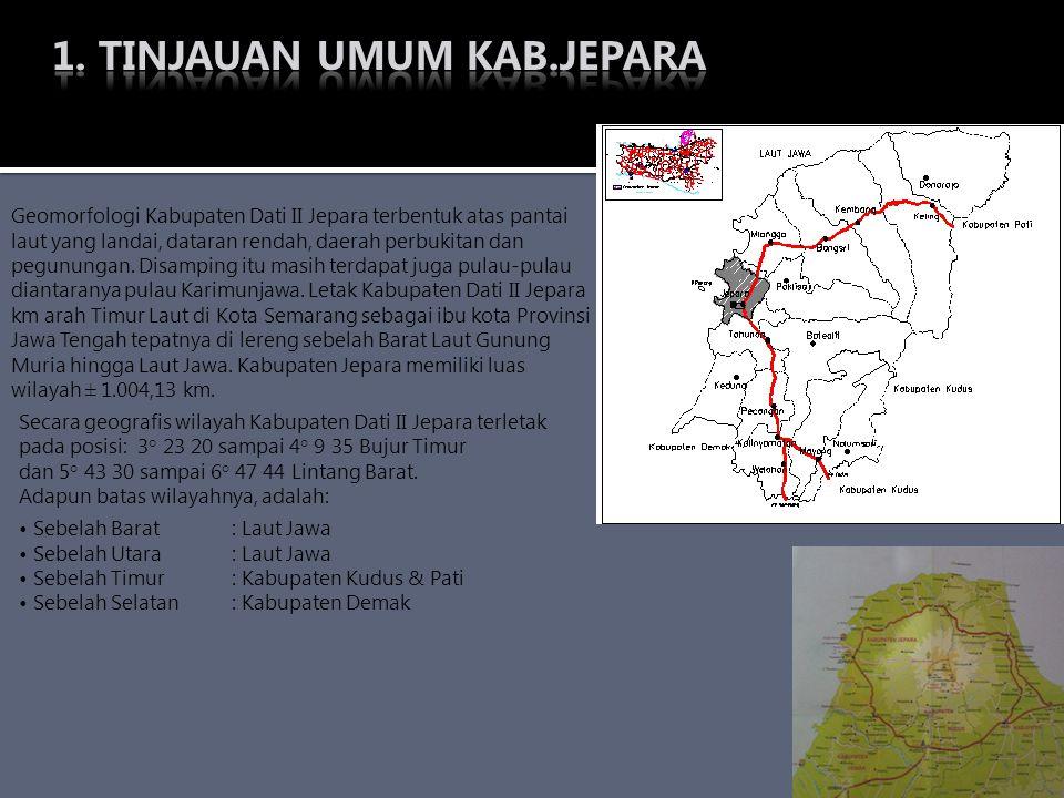 Secara geografis wilayah Kabupaten Dati II Jepara terletak pada posisi: 3° 23 20 sampai 4° 9 35 Bujur Timur dan 5° 43 30 sampai 6° 47 44 Lintang Barat