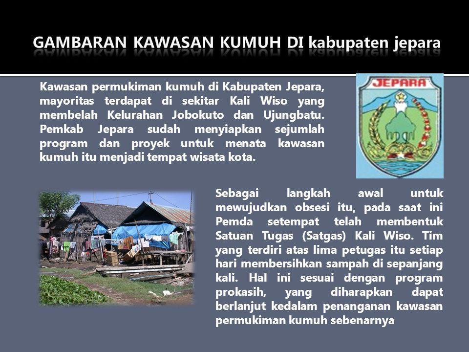 Kawasan permukiman kumuh di Kabupaten Jepara, mayoritas terdapat di sekitar Kali Wiso yang membelah Kelurahan Jobokuto dan Ujungbatu. Pemkab Jepara su