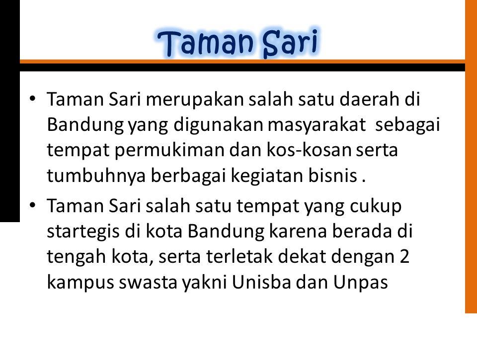 Taman Sari merupakan salah satu daerah di Bandung yang digunakan masyarakat sebagai tempat permukiman dan kos-kosan serta tumbuhnya berbagai kegiatan