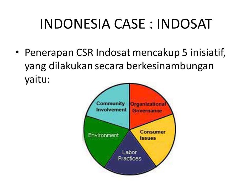 INDONESIA CASE : INDOSAT Penerapan CSR Indosat mencakup 5 inisiatif, yang dilakukan secara berkesinambungan yaitu: