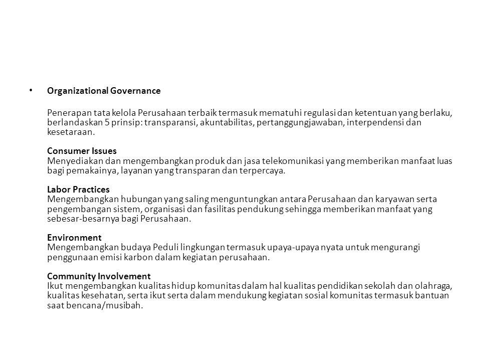 Organizational Governance Penerapan tata kelola Perusahaan terbaik termasuk mematuhi regulasi dan ketentuan yang berlaku, berlandaskan 5 prinsip: tran