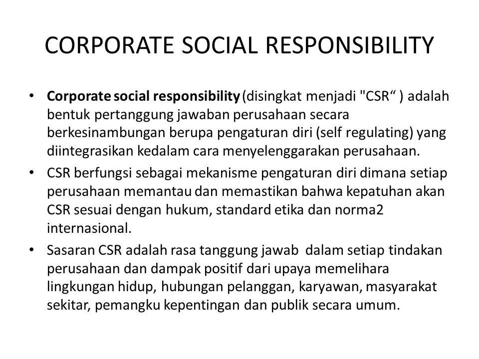 CORPORATE SOCIAL RESPONSIBILITY Corporate social responsibility (disingkat menjadi