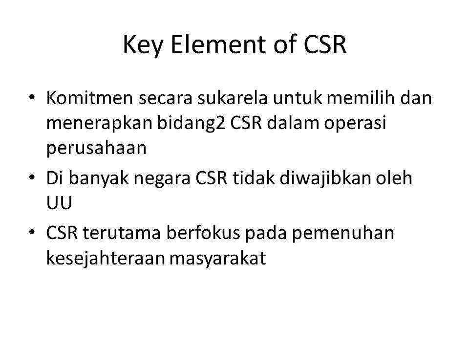 Key Element of CSR Komitmen secara sukarela untuk memilih dan menerapkan bidang2 CSR dalam operasi perusahaan Di banyak negara CSR tidak diwajibkan ol