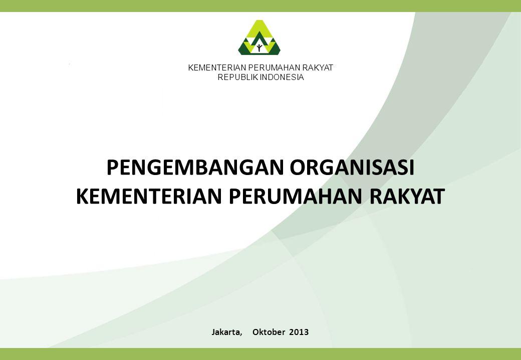 LINGKUNGAN STRATEGIS Undang-undang Nomor 1 Tahun 2011 Tentang Perumahan dan Kawasan Permukiman Wewenang Pembinaan Pemerintah : Mengoordinasikan pengawasan dan pengendalian pelaksanaan peraturan perundang-undangan bidang perumahan dan kawasan permukiman; Mengevaluasi peraturan perundang-undangan serta kebijakan dan strategi penyelenggaraan perumahan dan kawasan permukiman pada tingkat nasional; Mengendalikan pelaksanaan kebijakan dan strategi di bidang perumahan dan kawasan permukiman; Memfasilitasi peningkatan kualitas terhadap perumahan kumuh dan permukiman kumuh; Menetapkan kebijakan dan strategi nasional dalam penyelenggaraan perumahan dan kawasan permukiman; Memfasilitasi pengelolaan prasarana, sarana, dan utilitas umum perumahan dan kawasan permukiman; dan Memfasilitasi kerja sama tingkat nasional dan internasional antara Pemerintah dan badan hukum dalam penyelenggaraan perumahan dan kawasan permukiman