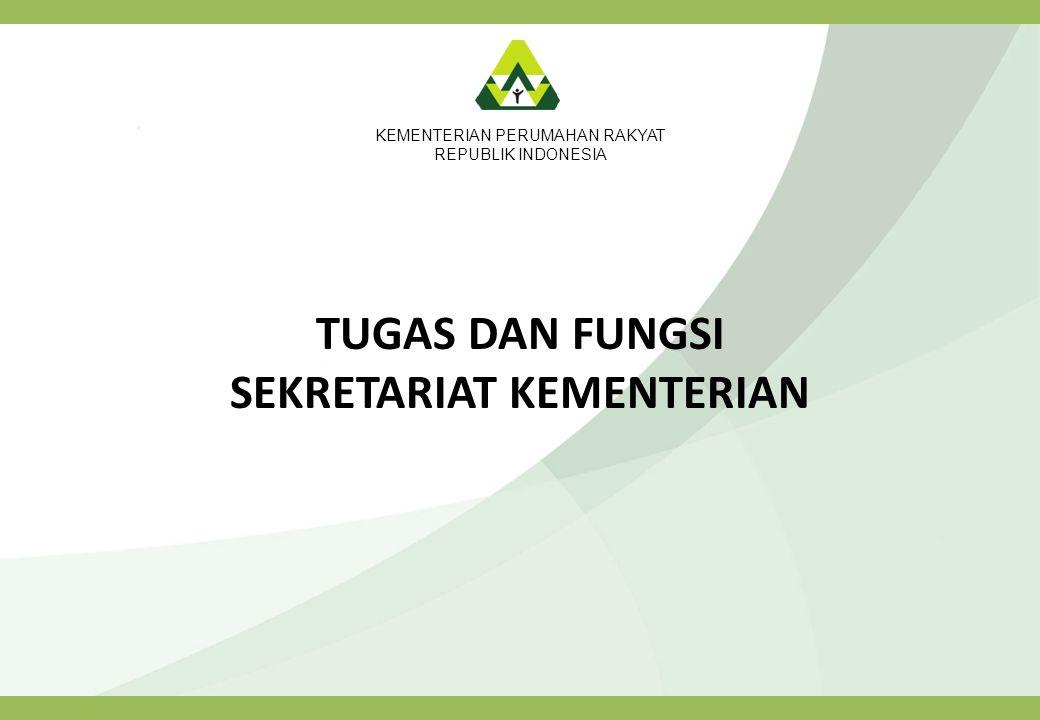 KEMENTERIAN PERUMAHAN RAKYAT REPUBLIK INDONESIA TUGAS DAN FUNGSI SEKRETARIAT KEMENTERIAN