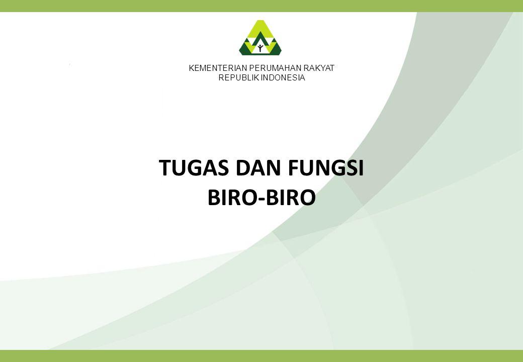 KEMENTERIAN PERUMAHAN RAKYAT REPUBLIK INDONESIA TUGAS DAN FUNGSI BIRO-BIRO