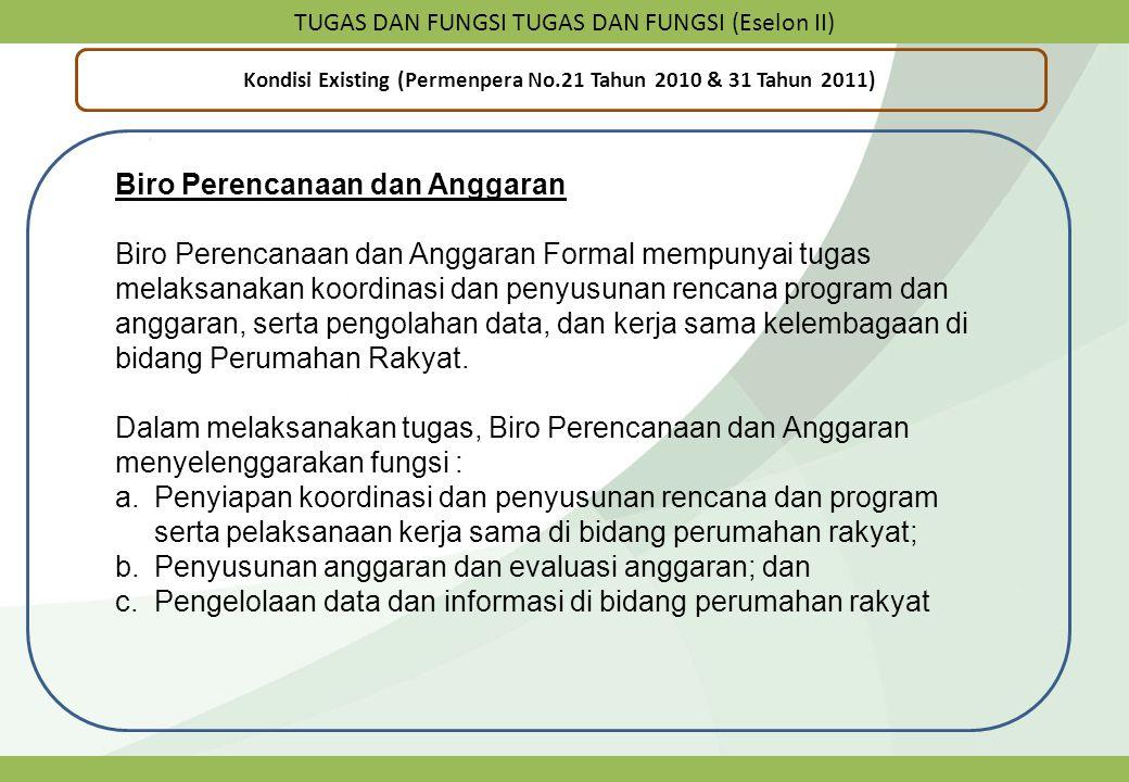 TUGAS DAN FUNGSI TUGAS DAN FUNGSI (Eselon II) Kondisi Existing (Permenpera No.21 Tahun 2010 & 31 Tahun 2011) Biro Perencanaan dan Anggaran Biro Perenc