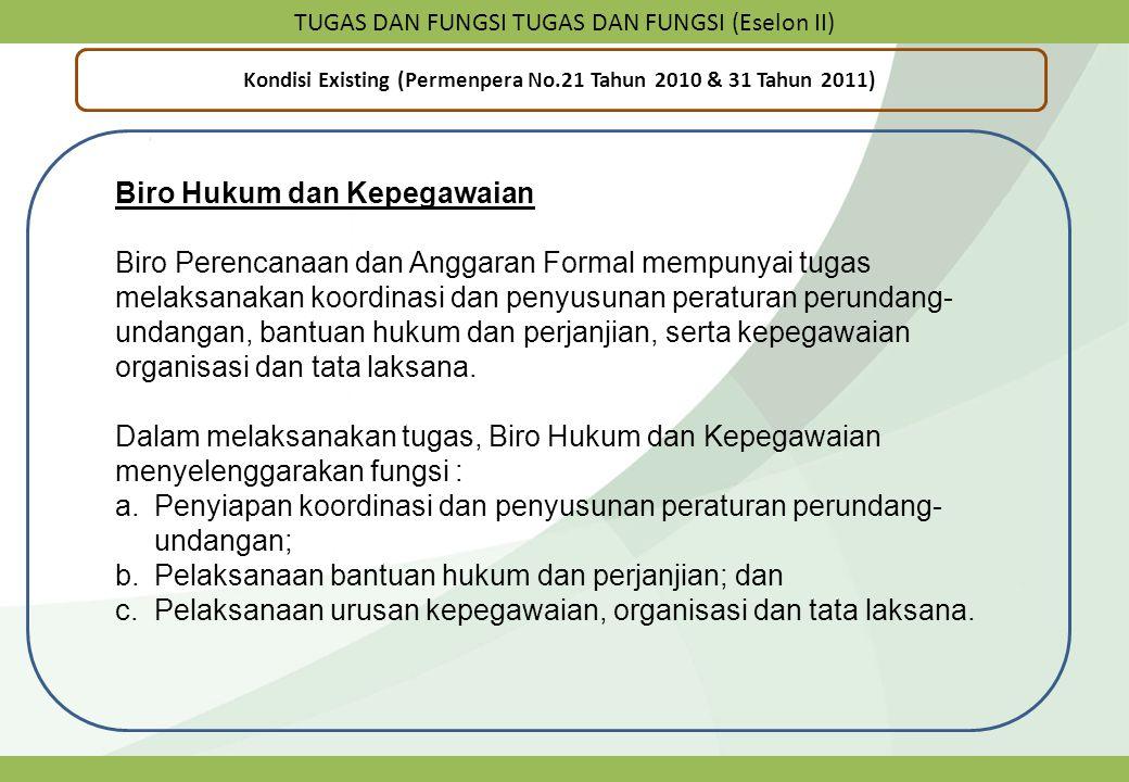 TUGAS DAN FUNGSI TUGAS DAN FUNGSI (Eselon II) Kondisi Existing (Permenpera No.21 Tahun 2010 & 31 Tahun 2011) Biro Hukum dan Kepegawaian Biro Perencana