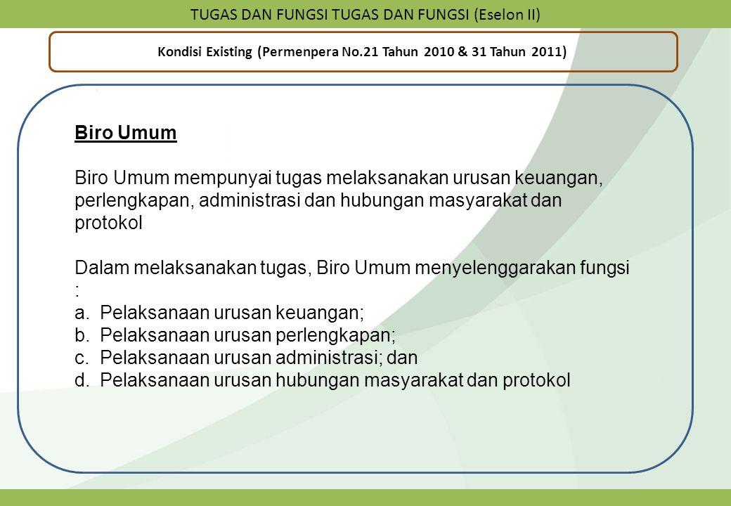 TUGAS DAN FUNGSI TUGAS DAN FUNGSI (Eselon II) Kondisi Existing (Permenpera No.21 Tahun 2010 & 31 Tahun 2011) Biro Umum Biro Umum mempunyai tugas melak