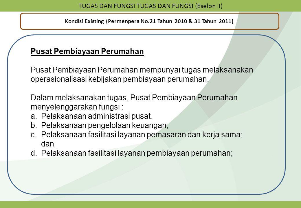 TUGAS DAN FUNGSI TUGAS DAN FUNGSI (Eselon II) Kondisi Existing (Permenpera No.21 Tahun 2010 & 31 Tahun 2011) Pusat Pembiayaan Perumahan Pusat Pembiaya