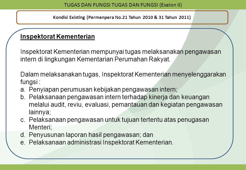 TUGAS DAN FUNGSI TUGAS DAN FUNGSI (Eselon II) Kondisi Existing (Permenpera No.21 Tahun 2010 & 31 Tahun 2011) Inspektorat Kementerian Inspektorat Kemen