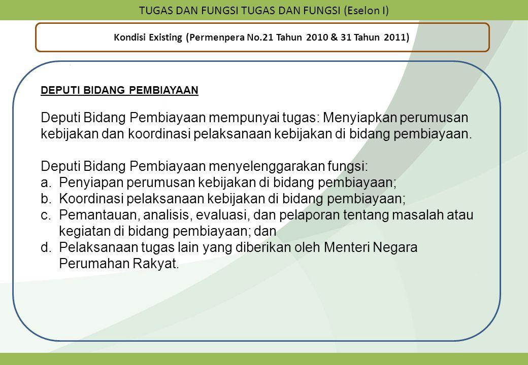 TUGAS DAN FUNGSI TUGAS DAN FUNGSI (Eselon I) Kondisi Existing (Permenpera No.21 Tahun 2010 & 31 Tahun 2011) DEPUTI BIDANG PEMBIAYAAN Deputi Bidang Pem