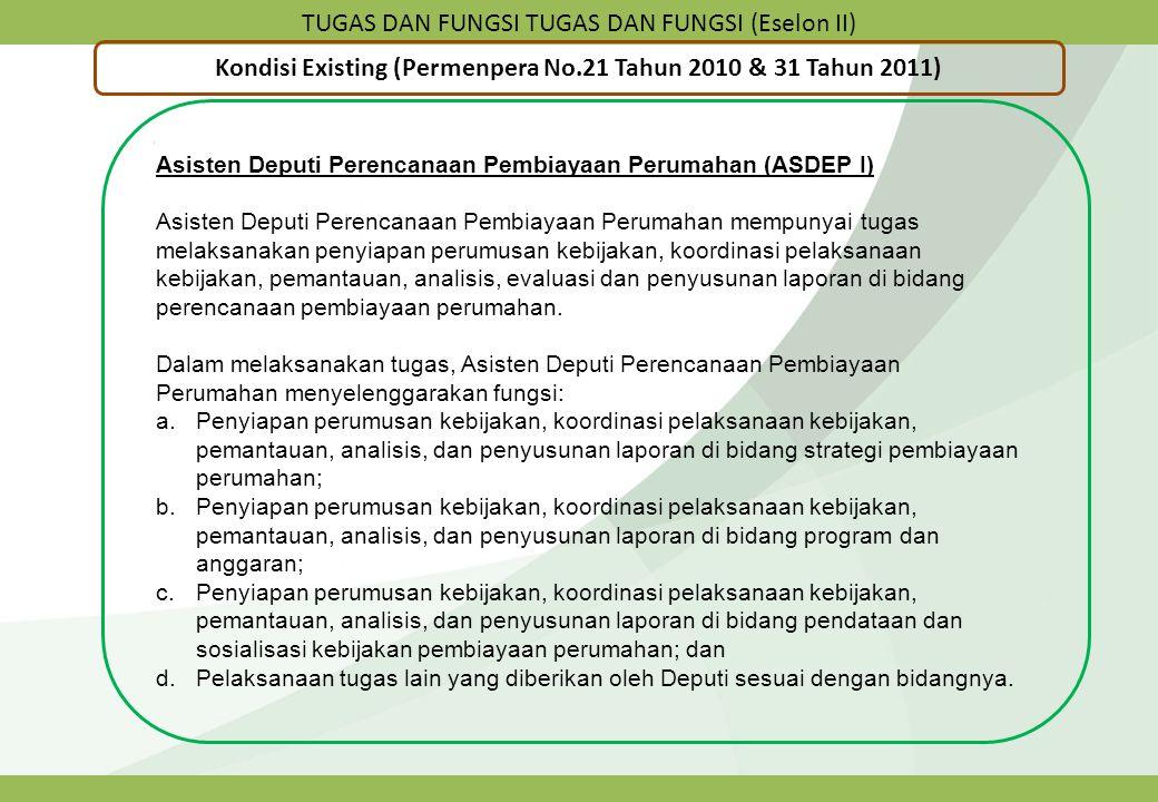 TUGAS DAN FUNGSI TUGAS DAN FUNGSI (Eselon II) Kondisi Existing (Permenpera No.21 Tahun 2010 & 31 Tahun 2011) Asisten Deputi Perencanaan Pembiayaan Per