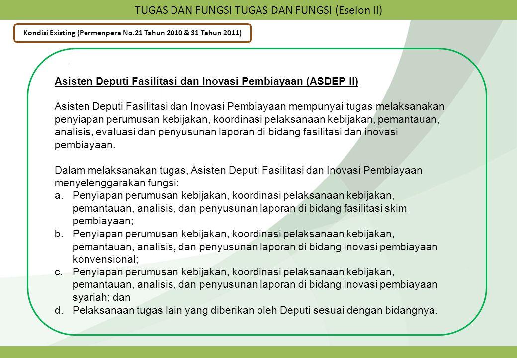 TUGAS DAN FUNGSI TUGAS DAN FUNGSI (Eselon II) Kondisi Existing (Permenpera No.21 Tahun 2010 & 31 Tahun 2011) Asisten Deputi Fasilitasi dan Inovasi Pem