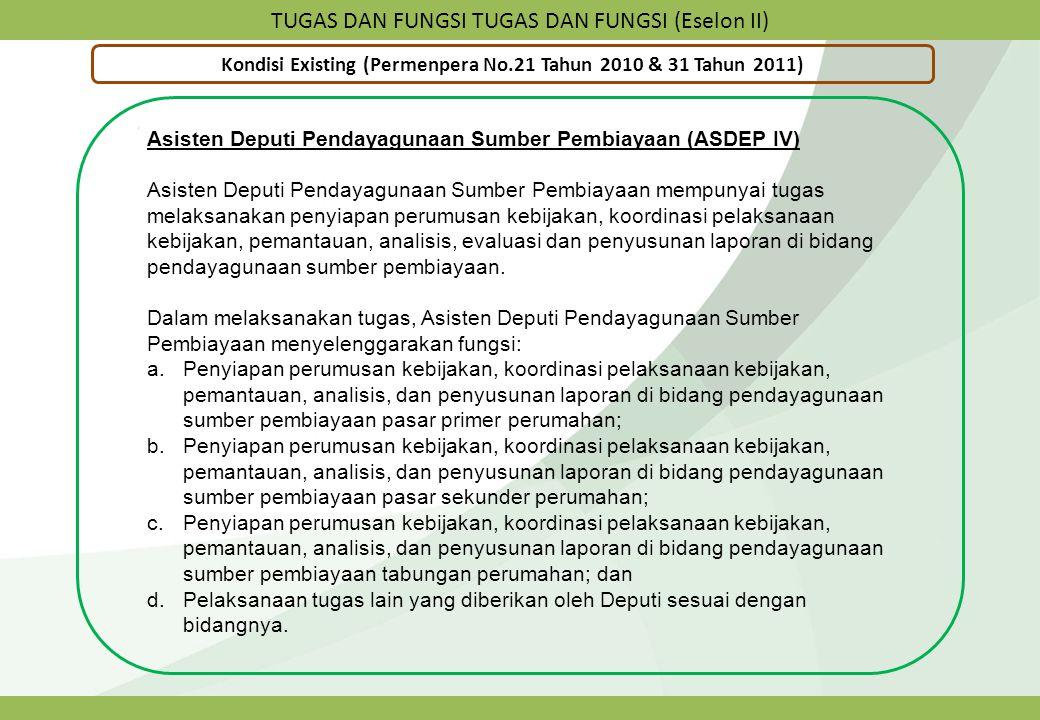 TUGAS DAN FUNGSI TUGAS DAN FUNGSI (Eselon II) Kondisi Existing (Permenpera No.21 Tahun 2010 & 31 Tahun 2011) Asisten Deputi Pendayagunaan Sumber Pembi