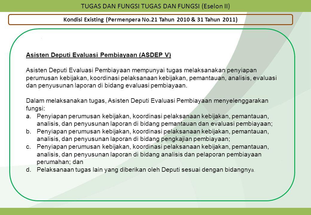 TUGAS DAN FUNGSI TUGAS DAN FUNGSI (Eselon II) Kondisi Existing (Permenpera No.21 Tahun 2010 & 31 Tahun 2011) Asisten Deputi Evaluasi Pembiayaan (ASDEP