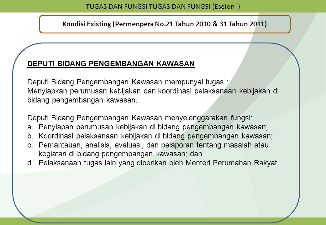 TUGAS DAN FUNGSI TUGAS DAN FUNGSI (Eselon I) Kondisi Existing (Permenpera No.21 Tahun 2010 & 31 Tahun 2011) DEPUTI BIDANG PENGEMBANGAN KAWASAN Deputi