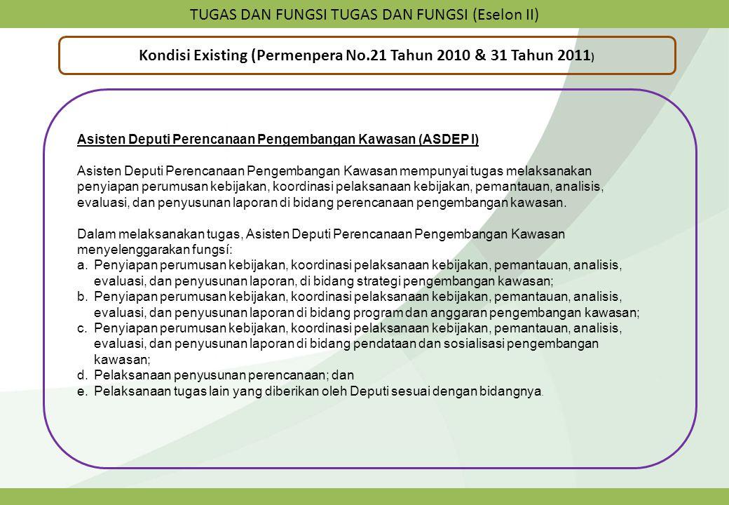 TUGAS DAN FUNGSI TUGAS DAN FUNGSI (Eselon II) Kondisi Existing (Permenpera No.21 Tahun 2010 & 31 Tahun 2011 ) Asisten Deputi Perencanaan Pengembangan
