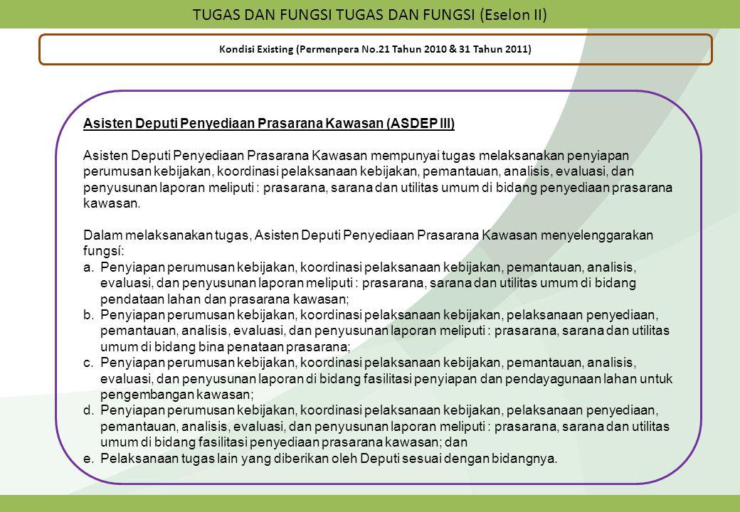 TUGAS DAN FUNGSI TUGAS DAN FUNGSI (Eselon II) Kondisi Existing (Permenpera No.21 Tahun 2010 & 31 Tahun 2011) Asisten Deputi Penyediaan Prasarana Kawas
