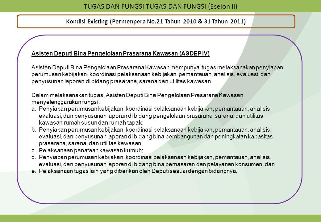 TUGAS DAN FUNGSI TUGAS DAN FUNGSI (Eselon II) Kondisi Existing (Permenpera No.21 Tahun 2010 & 31 Tahun 2011) Asisten Deputi Bina Pengelolaan Prasarana