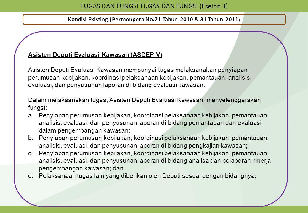TUGAS DAN FUNGSI TUGAS DAN FUNGSI (Eselon II) Kondisi Existing (Permenpera No.21 Tahun 2010 & 31 Tahun 2011 ) Asisten Deputi Evaluasi Kawasan (ASDEP V