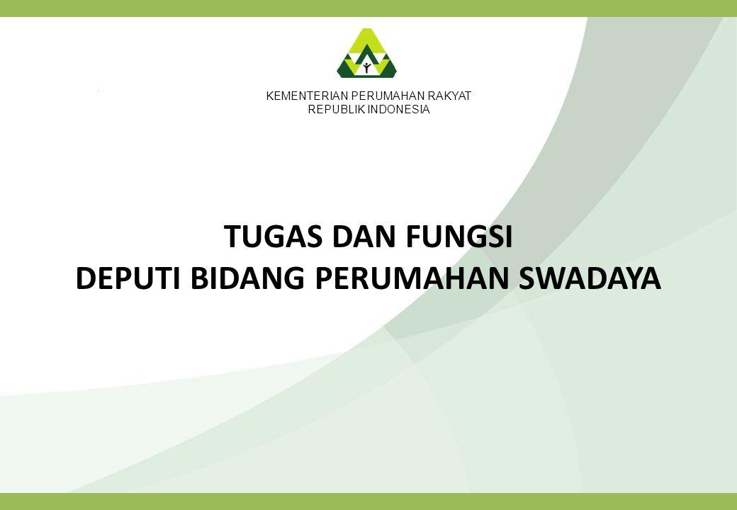 KEMENTERIAN PERUMAHAN RAKYAT REPUBLIK INDONESIA TUGAS DAN FUNGSI DEPUTI BIDANG PERUMAHAN SWADAYA