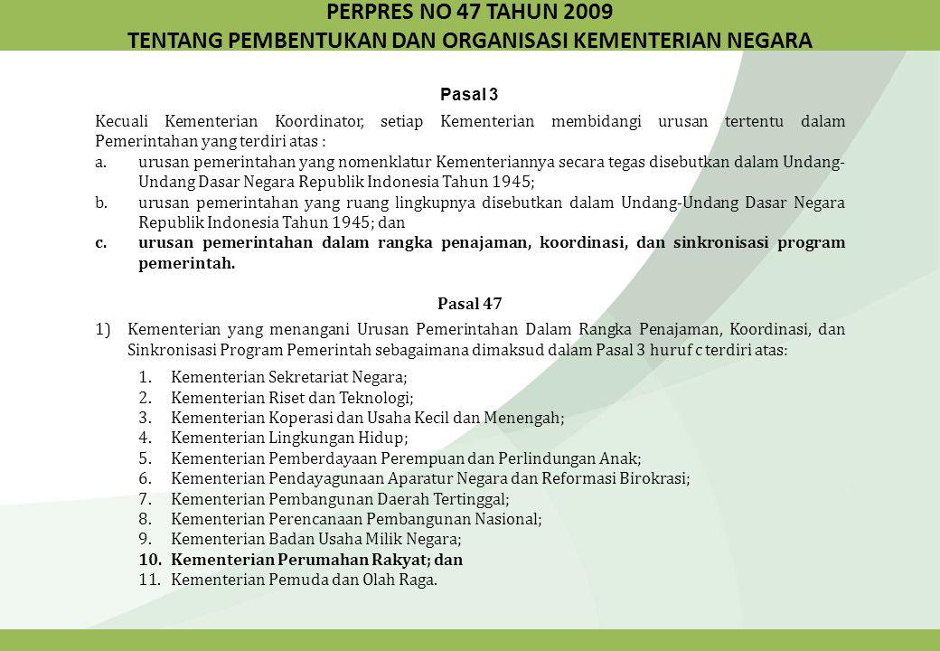 LANDASAN FUNGSIONAL Fungsi Koordinasi Berperan sebagai Koordinator yang mengkoordinasikan pembangunan perumahan dan kawasan perumahan nasional.