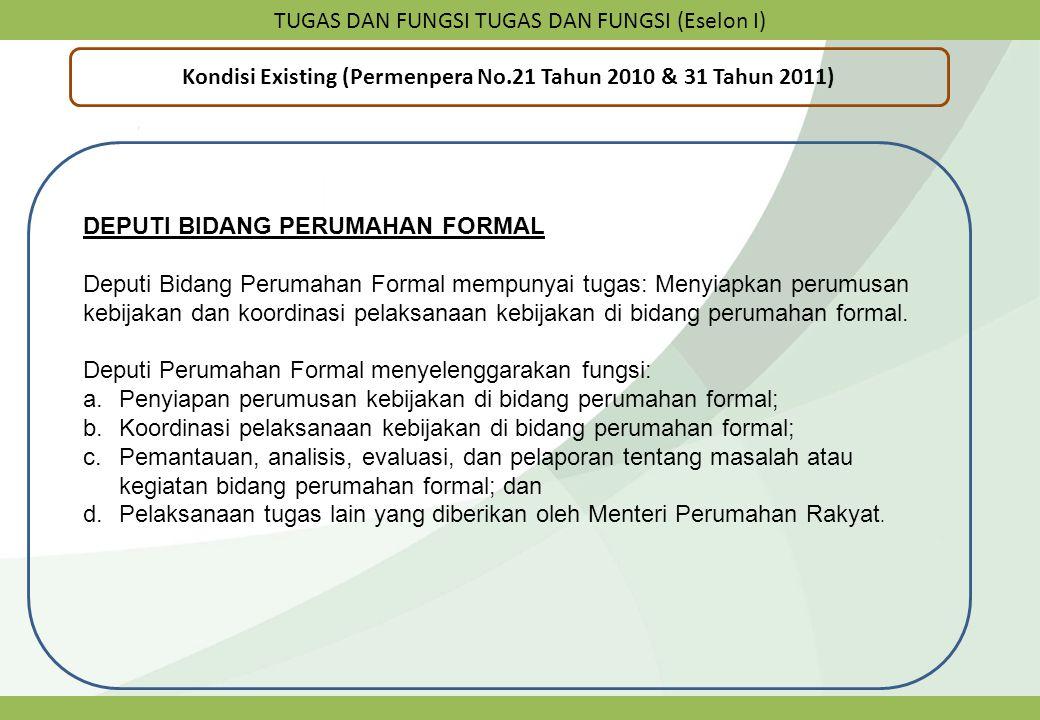 TUGAS DAN FUNGSI TUGAS DAN FUNGSI (Eselon I) Kondisi Existing (Permenpera No.21 Tahun 2010 & 31 Tahun 2011) DEPUTI BIDANG PERUMAHAN FORMAL Deputi Bida