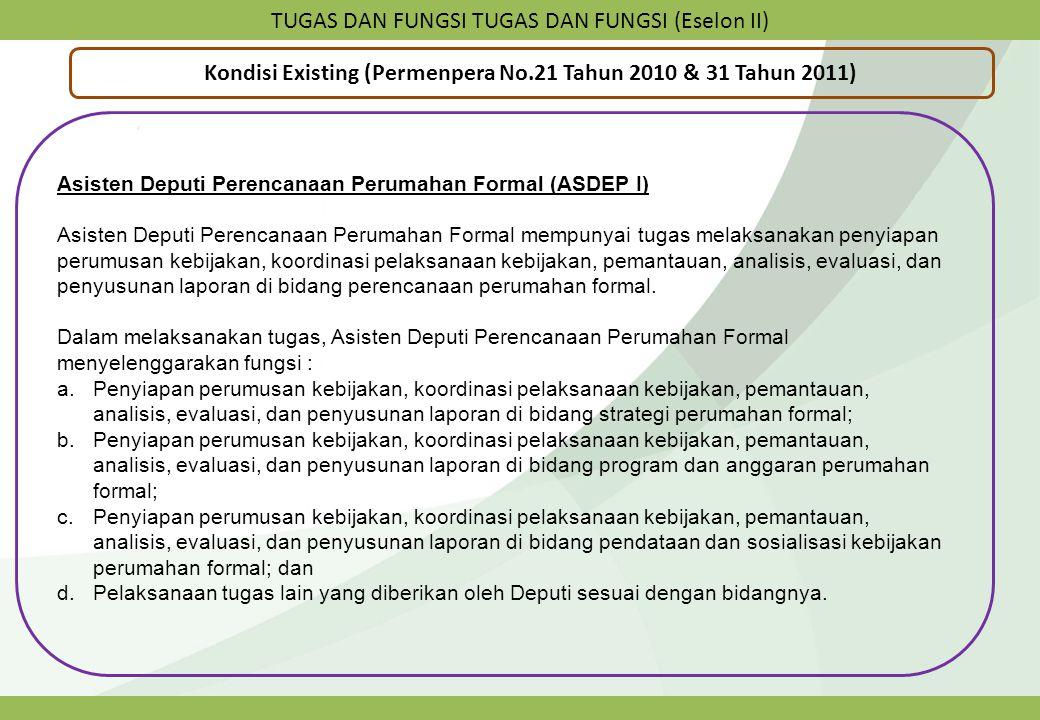 TUGAS DAN FUNGSI TUGAS DAN FUNGSI (Eselon II) Kondisi Existing (Permenpera No.21 Tahun 2010 & 31 Tahun 2011) Asisten Deputi Perencanaan Perumahan Form