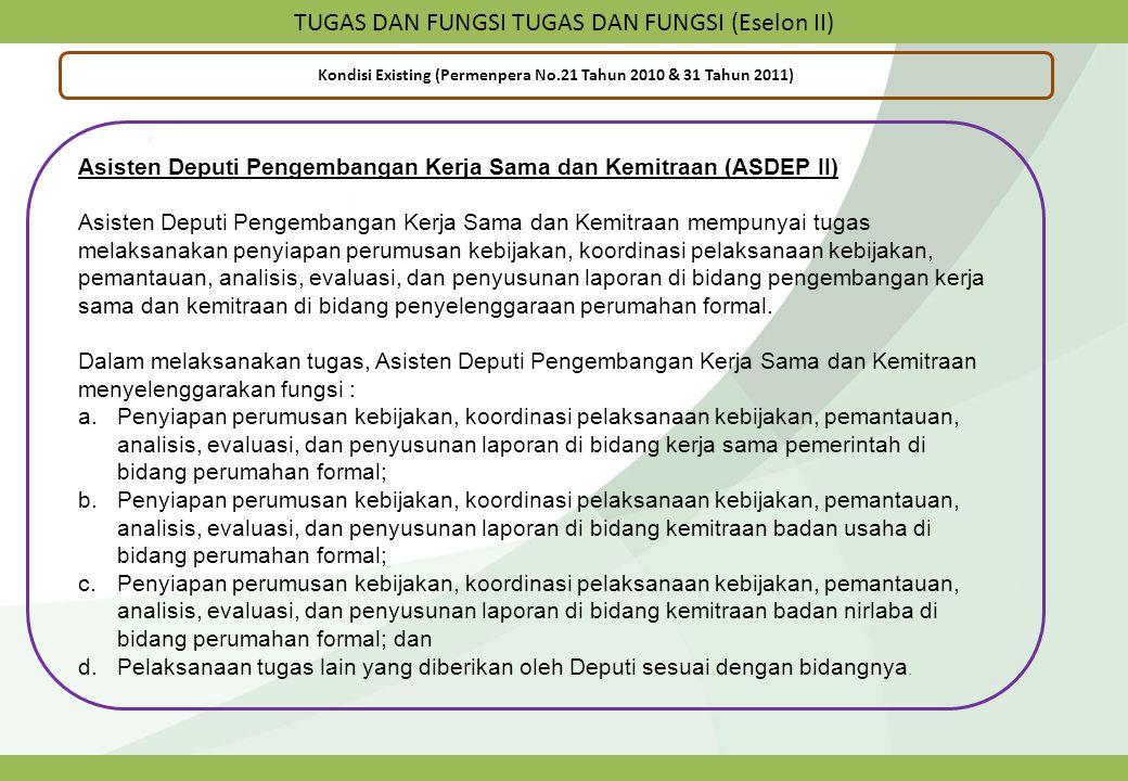 TUGAS DAN FUNGSI TUGAS DAN FUNGSI (Eselon II) Kondisi Existing (Permenpera No.21 Tahun 2010 & 31 Tahun 2011) Asisten Deputi Pengembangan Kerja Sama da
