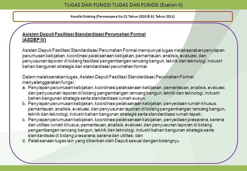 TUGAS DAN FUNGSI TUGAS DAN FUNGSI (Eselon II) Kondisi Existing (Permenpera No.21 Tahun 2010 & 31 Tahun 2011) Asisten Deputi Fasilitasi Standardisasi P
