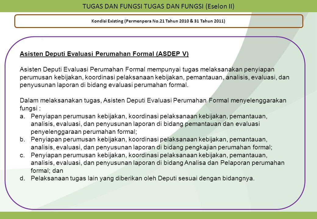 TUGAS DAN FUNGSI TUGAS DAN FUNGSI (Eselon II) Kondisi Existing (Permenpera No.21 Tahun 2010 & 31 Tahun 2011) Asisten Deputi Evaluasi Perumahan Formal
