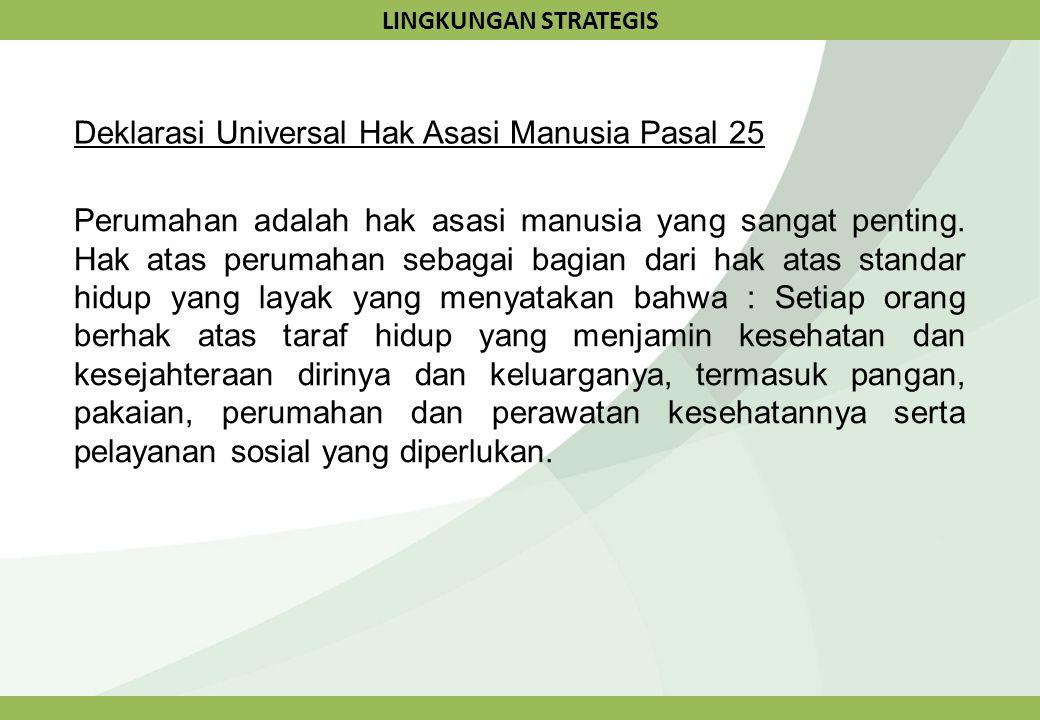 LINGKUNGAN STRATEGIS Deklarasi Universal Hak Asasi Manusia Pasal 25 Perumahan adalah hak asasi manusia yang sangat penting. Hak atas perumahan sebagai