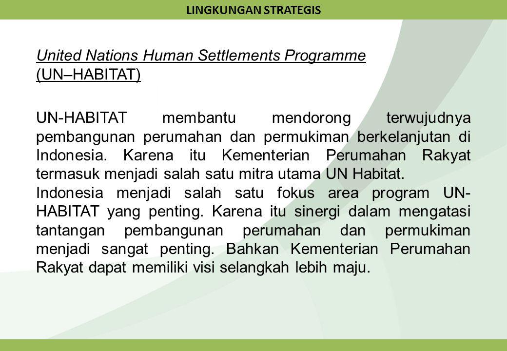 LINGKUNGAN STRATEGIS United Nations Human Settlements Programme (UN–HABITAT) UN-HABITAT membantu mendorong terwujudnya pembangunan perumahan dan permu