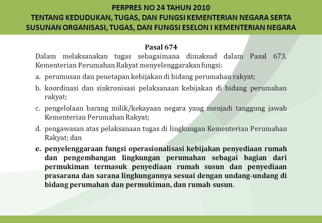PERPRES NO 24 TAHUN 2010 TENTANG KEDUDUKAN, TUGAS, DAN FUNGSI KEMENTERIAN NEGARA SERTA SUSUNAN ORGANISASI, TUGAS, DAN FUNGSI ESELON I KEMENTERIAN NEGARA Pasal 674 Dalam melaksanakan tugas sebagaimana dimaksud dalam Pasal 673, Kementerian Perumahan Rakyat menyelenggarakan fungsi: a.perumusan dan penetapan kebijakan di bidang perumahan rakyat; b.koordinasi dan sinkronisasi pelaksanaan kebijakan di bidang perumahan rakyat; c.pengelolaan barang milik/kekayaan negara yang menjadi tanggung jawab Kementerian Perumahan Rakyat; d.pengawasan atas pelaksanaan tugas di lingkungan Kementerian Perumahan Rakyat; dan e.penyelenggaraan fungsi operasionalisasi kebijakan penyediaan rumah dan pengembangan lingkungan perumahan sebagai bagian dari permukiman termasuk penyediaan rumah susun dan penyediaan prasarana dan sarana lingkungannya sesuai dengan undang-undang di bidang perumahan dan permukiman, dan rumah susun.