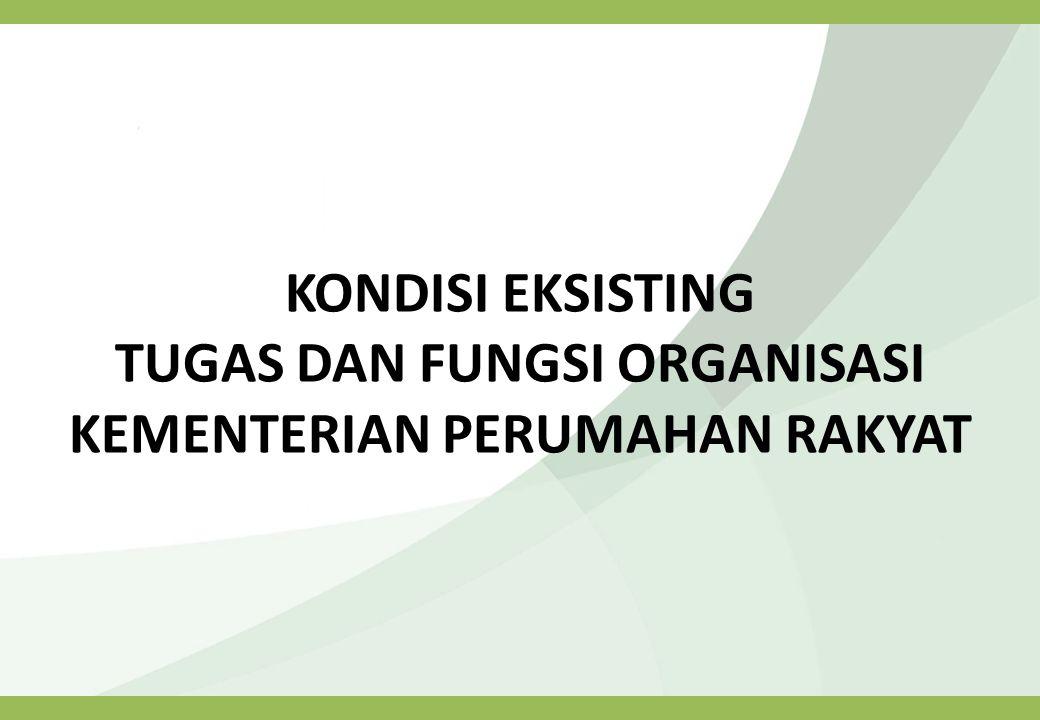 TUGAS DAN FUNGSI (Eselon II) Kondisi Existing (Permenpera No.21 Tahun 2010 & 31 Tahun 2011) Asisten Deputi Kemitraan dan Keswadayaan Perumahan (ASDEP II) Asisten Deputi Kemitraan dan Keswadayaan Perumahan mempunyai tugas melaksanakan penyiapan perumusan kebijakan, koordinasi pelaksanaan kebijakan, pemantauan, analisis, evaluasi, dan penyusunan laporan di bidang kemitraan dan keswadayaan perumahan swadaya.
